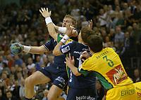 Håndball,<br /> Handball Champions League Finale <br /> Flensburg Handewitt - Pivovarna Celje<br /> V.l. Joachim Boldsen, Johnny Jensen, Siarhej Rutenka<br /> Foto: Digitalsport