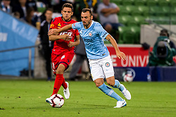 February 9, 2019 - Melbourne, VIC, U.S. - MELBOURNE, AUSTRALIA - February 09 : Florin Berenguer-Bohrer of Melbourne City  and Mirko Boland of Adelaide United  contest the ball during round 18 of the Hyundai A-League Series between Melbourne City and Adelaide United on February 9 2019, at AAMI Park in Melbourne, Australia. (Photo by Jason Heidrich/Icon Sportswire) (Credit Image: © Jason Heidrich/Icon SMI via ZUMA Press)