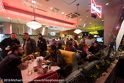 The Moon Cafe during the Monday night afterparty at Mooneyes Area One after the Mooneyes Yokohama Hot Rod & Custom Show. Yokohama, Japan. December 5, 2016.  Photography ©2016 Michael Lichter.