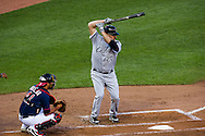 In his Chicago White Sox debut, Kevin Youkilis bats against the Minnesota Twins on June 25, 2012 at Target Field in Minneapolis, Minnesota.  The Twins defeated the White Sox 4 to 1.  © 2012 Ben Krause