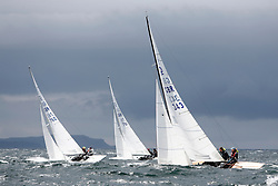 International Dragon Class Edinburgh Cup 2015.<br /> <br /> The first days racing in a strong southerly.<br /> <br /> GBR343, WIZZ TOO, Henry Boyd & Helen Horsfall, Royal Forth YC<br /> <br /> <br /> Credit Marc Turner
