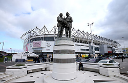 A general view of the Statue of former Derby County manager Brian Clough and his assistant Peter Taylor outside Pride Park Stadium prior to the beginning of the match