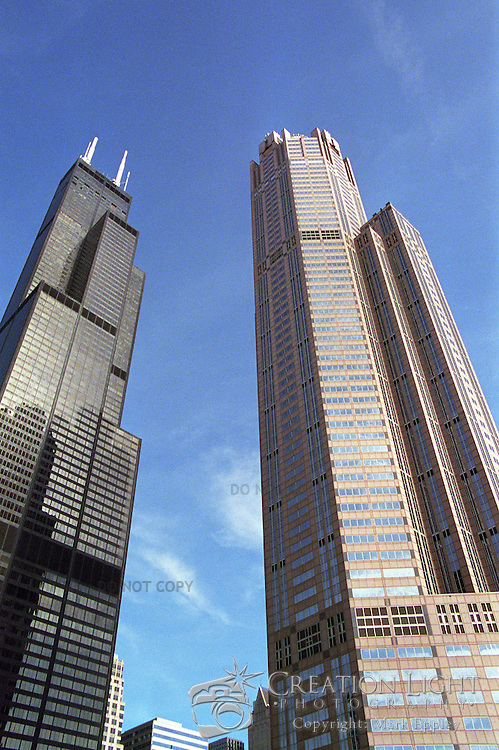 The Sears Tower is almost twice as tall as the building at 311 South Wacker but here they look very close in height