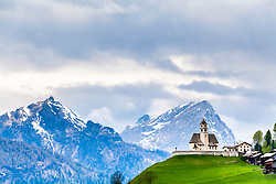 A hilltop church in Selva di Cadore high in the Dolomite Alps of Northern Italy