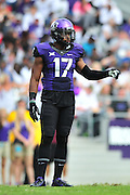 FORT WORTH, TX - SEPTEMBER 13:  Sam Carter #17 of the TCU Horned Frogs looks on against the Minnesota Golden Gophers on September 13, 2014 at Amon G. Carter Stadium in Fort Worth, Texas.  (Photo by Cooper Neill/Getty Images) *** Local Caption *** Sam Carter