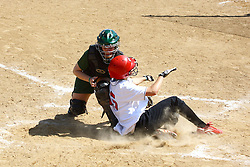 05 April 2008:  Kelly Nelson blocks the plate on a play from home and tags out Kelsey Epping.The Carthage College Lady Reds lost the first game of this double header to the Titans of Illinois Wesleyan 4-1 at Illinois Wesleyan in Bloomington, IL