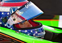 LONG BEACH, CA - APR 15: IndyCar Series driver Danica Patrick waits for IndyCar practice run in her pit. Photo by Eduardo E. Silva