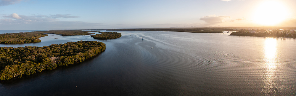 Panoramic aerial view of Pumicestone Passage, a waterway between Bribie Island and the mainland, Caloundra, Sunshine Coast, Queensland, Australia