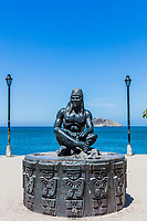 waterfrant statue Tayrona man of Santa Marta Magdalena in Colombia South America