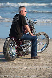 First place $10,000 winner - Don's Custom Cycle's Donny Loos with his In Motion Bike Show custom Shovelhead on the beach during the Lone Star Rally. Galveston, TX. USA. Sunday November 5, 2017. Photography ©2017 Michael Lichter.