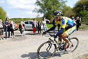 France, April 13th 2014: Saxo-Tinkoff rider, Michal Kolar, chases the lead group through Pont Gibus, Wallers, during the 2014 Paris Roubaix cycle race.