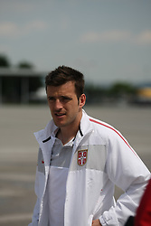 25.05.2010, Airport Salzburg, Salzburg, AUT, WM Vorbereitung, Serbien Ankunft im Bild Antonio Rukavina, Nationalteam Serbien, EXPA Pictures © 2010, PhotoCredit EXPA R. Hackl / SPORTIDA PHOTO AGENCY