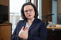 15 MAR 2018, BERLIN/GERMANY:<br /> Andrea Nahles, SPD Fraktionsvorsitzende, waehrend einem Interview, in ihrem Buero, Jakob-Kaiser-Haus, Deutscher Bundestag<br /> IMAGE: 20180315-01-015<br /> KEYWORDS: Büro