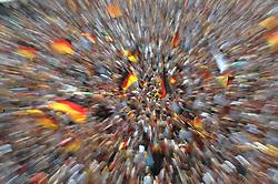03.07.2010, Hyundai Fan Park, Hamburg, GER, FIFA Worldcup, Puplic Viewing Deutschland vs Argentinien  im Bild Fans mit Deutschland-Outfit beim Zuschauen vor der Tribuene jubeln ueber das 1-0 fuer Deuschland gezoomt.Foto ©  nph /  Witke