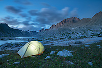 Glowing tent at backcountry camp in Titcomb Basin, Bridger Wilderness, Wind River Range Wyoming
