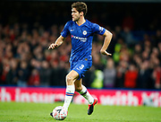 Chelsea's Marcos Alonso in action during the English FA Cup fifth round soccer match between Chelsea and Liverpool at Stanford Bridge Stadium, Wednesday, March 3, 2020, in London, United Kingdom. (ESPA-Images/Image of Sport)