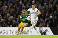 Leeds United's Liam Cooper under pressure from  Preston North End's Sean Maguire<br /> <br /> Photographer Rich Linley/CameraSport<br /> <br /> The EFL Sky Bet Championship - Leeds United v Preston North End - Thursday 26th December 2019 - Elland Road - Leeds<br /> <br /> World Copyright © 2019 CameraSport. All rights reserved. 43 Linden Ave. Countesthorpe. Leicester. England. LE8 5PG - Tel: +44 (0) 116 277 4147 - admin@camerasport.com - www.camerasport.com