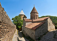 Pictures & images of the Georgian Orthodox church of the Virgin, early 17th century, Ananuri castle complex, Georgia (country).<br /> <br /> Ananuri castle is situated next to the Military Road overlooking the Aragvi River in Georgia, about 45 miles (72 kilometres) from Tbilisi. It was the castle of the eristavis (Dukes) of Aragvi from the 13th century and was the scene of numerous battles. In 2007 Ananuri castle was enscribed on the   UNESCO World Heritage Site tentative list. .<br /> <br /> Visit our MEDIEVAL PHOTO COLLECTIONS for more   photos  to download or buy as prints https://funkystock.photoshelter.com/gallery-collection/Medieval-Middle-Ages-Historic-Places-Arcaeological-Sites-Pictures-Images-of/C0000B5ZA54_WD0s<br /> <br /> Visit our REPUBLIC of GEORGIA HISTORIC PLACES PHOTO COLLECTIONS for more photos to browse, download or buy as wall art prints https://funkystock.photoshelter.com/gallery-collection/Pictures-Images-of-Georgia-Country-Historic-Landmark-Places-Museum-Antiquities/C0000c1oD9eVkh9c
