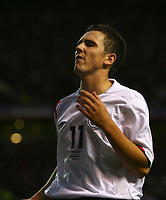 Photo: Andrew Unwin.<br />England v Macedonia. UEFA European Championships 2008 Qualifying. 07/10/2006.<br />England's Stewart Downing rues a missed opportunity.