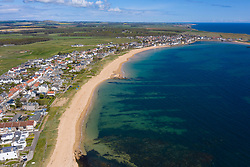 Aerial view of villages of Earlsferry and Elie in East Neuk of Fife, Scotland, UK