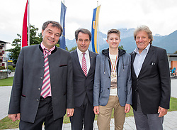 02.10.2015, Nussdorf Gebannt, AUT, Empfang für UCI Juniorenweltmeister Felix Gall, im Bild v.l. BGM Ing. Andreas Pfurner, Franz Theurl (Obmann TVB Osttirol), UCI Juniorenweltmeister, Felix Gall, ÖRV Präsident Otto Flum // during the official reception for the UCI Junior World Champion Felix Gall in his home town. Nussdorf Decant, Austria on 2015/10/02. EXPA Pictures © 2015, PhotoCredit: EXPA/ Johann Groder