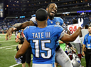 DETROIT, MI - SEPTEMBER 08:  Calvin Johnson #81 celebrates with Golden Tate #15 of the Detroit Lions after a 35-14 win over the New York Giants at Ford Field on September 8, 2014 in Detroit, Michigan. (Photo by Joe Sargent/Getty Images) *** Local Caption ***Calvin Johnson;Golden Tate