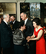 President Lyndon Johnson, First Lady Lady Bird Johnson and Speaker of the House John McCormack and his wife  at an event in the Lincoln Bedroom of the White House, in March 1968<br /> Photo by Dennis Brack bb72