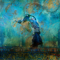 """Upraised woman with colorful dress blowing on a sand dune. Moon and stars.<br /> :::<br /> """"You and I are but specks of that rhythmic urge which is Brahma, which is Allah, which is God.""""<br /> -Ruth St. Denis"""