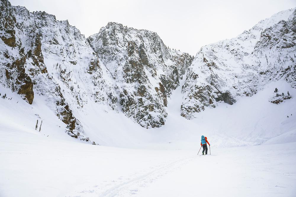 Jacki Arévalo below the Sickle, Sawtooth Range, Idaho.