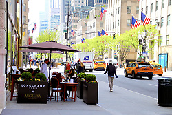 Angelina Paris is opening a pop up terrace at The Longchamp store on Fifth Avenue in New York, NY on May 4, 2021. The 15 seats are open each day from May to July.<br /> Photo by Charles Guerin/ABACAPRESS.COM