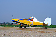 Israel, Negev, a crop dusting aeroplane at the landing strip ready to take off to spray the fields