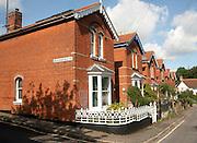 Red brick Edwardian villa housing, Woodbridge, Suffolk, England