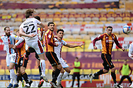 Scunthorpe United Alfie Beestin (22) heads the ball, misses the target during the EFL Sky Bet League 2 match between Bradford City and Scunthorpe United at the Utilita Energy Stadium, Bradford, England on 1 May 2021.