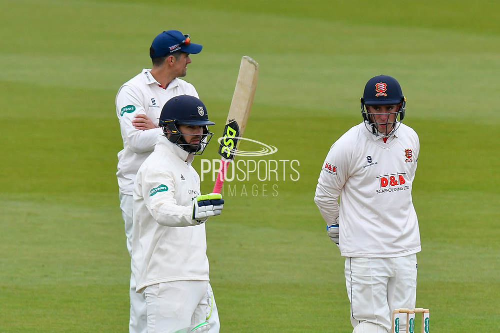 50 for Rilee Rossouw of Hampshire - Rilee Rossouw of Hampshire celebrates scoring his half century during the first day of the Specsavers County Champ Div 1 match between Hampshire County Cricket Club and Essex County Cricket Club at the Ageas Bowl, Southampton, United Kingdom on 5 April 2019.