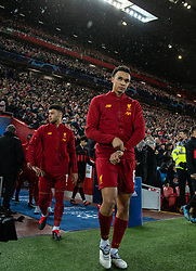 LIVERPOOL, ENGLAND - Wednesday, March 11, 2020: Liverpool's Trent Alexander-Arnold walks out before the UEFA Champions League Round of 16 2nd Leg match between Liverpool FC and Club Atlético de Madrid at Anfield. (Pic by David Rawcliffe/Propaganda)