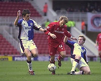 Photo. Glyn Thomas.<br /> Middlesbrough v Blackburn Rovers. Premiership. <br /> Riverside Stadium, Middlesbrough. 07/02/2004.<br /> Boro's Gaizka Mendieta (C) under pressure from Andy Todd (R) and John Douglas.