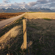 On the right is undisturbed grassland. On the left of the road is recently burned grasslands. Ninepipe National Wildlife Refuge, Montana