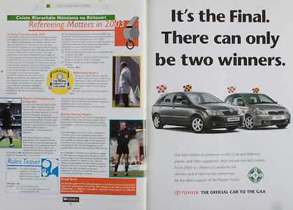 All Ireland Senior Hurling Championship - Final,.14092003AISHCF,.14.09.2003, 09.14.2003, 9th September 2003,.Senior Kilkenny 1-14, Cork 1-11,.Minor Kilkenny 2-16, Galway 2-15,.Toyota,
