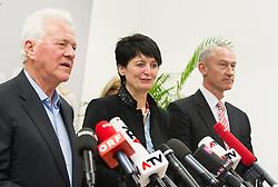 """06.02.2015, Parlamentsklub TS, Wien, AUT, Team Stronach, Pressekonferenz mit dem Thema: """"Neustart Team Stronach"""". im Bild v.l.n.r. Parteigruender und Obmann Frank Stronach, Klubchefin Waltraud Dietrich and Vizeparteichef Team Stronach Wolfgang Auer // f.l.t.r. Party Founder Frank Stronach, Leader of the parliamentary group TS Waltraud Dietrich and Vice-Leader of the parliamentary group Team Stronach Wolfgang Auer during press conference of Team Stronach at parliamentary club TS in Vienna, Austria on 2015/02/06. EXPA Pictures © 2015, PhotoCredit: EXPA/ Michael Gruber"""