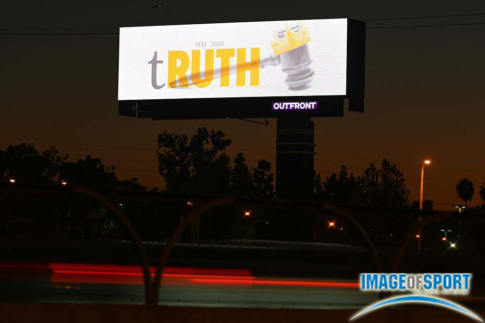 """A billboard remembers former Supreme Court Justice judge Ruth Bader Ginsburg with the message """"tRUTH (1933-2020)"""",  Tuesday, Sept. 22, 2020, in Anaheim, Calif. (Dylan Stewart/Image of Sport)"""