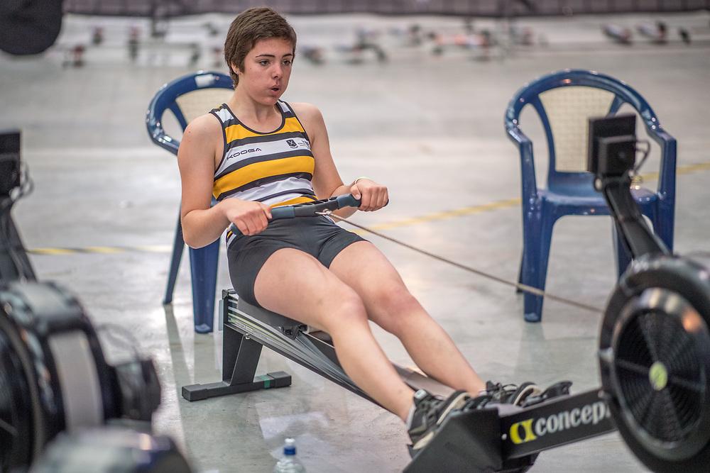 Katie Grant FEMALE HEAVYWEIGHT U17 2K Race #3  09:00am<br /> <br /> <br /> www.rowingcelebration.com Competing on Concept 2 ergometers at the 2018 NZ Indoor Rowing Championships. Avanti Drome, Cambridge,  Saturday 24 November 2018 © Copyright photo Steve McArthur / @RowingCelebration