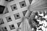 SHOT 9/9/13 7:35:32 AM - Looking skyward on the front steps of Buffalo City Hall, the seat for municipal government in the City of Buffalo, New York. Located at 65 Niagara Square, the 32 story Art Deco building was completed in 1931 by Dietel, Wade & Jones. At 378 ft. height or 398 feet from the street to the tip of the tower, it is one of the largest and tallest municipal buildings in the United States of America and is also one of the tallest buildings in Western New York. It was listed on the National Register of Historic Places in 1999. Buffalo, N.Y. is the second most populous city in the state of New York and is located in Western New York on the eastern shores of Lake Erie and at the head of the Niagara River. By 1900, Buffalo was the 8th largest city in the country, and went on to become a major railroad hub, the largest grain-milling center in the country and the home of the largest steel-making operation in the world. The latter part of the 20th Century saw a reversal of fortunes: by the year 1990 the city had fallen back below its 1900 population levels. (Photo by Marc Piscotty / © 2013)