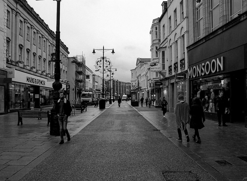 Residents of Cheltenham wander about the high street amidst the lockdown imposed by the UK government in November.