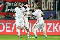20.10.2015, BayArena, Leverkusen, GER, UEFA CL, Bayer 04 Leverkusen vs AS Roma, Gruppe E, im Bild v.l. Torjubel Daniele De Rossi (#16, AS Rom) (Torschuetze 2:1) und Radja Nainggolan (#4, AS Rom) // during UEFA Champions League group E match between Bayer 04 Leverkusen and AS Roma at the BayArena in Leverkusen, Germany on 2015/10/20. EXPA Pictures © 2015, PhotoCredit: EXPA/ Eibner-Pressefoto/ Deutzmann<br /> <br /> *****ATTENTION - OUT of GER*****