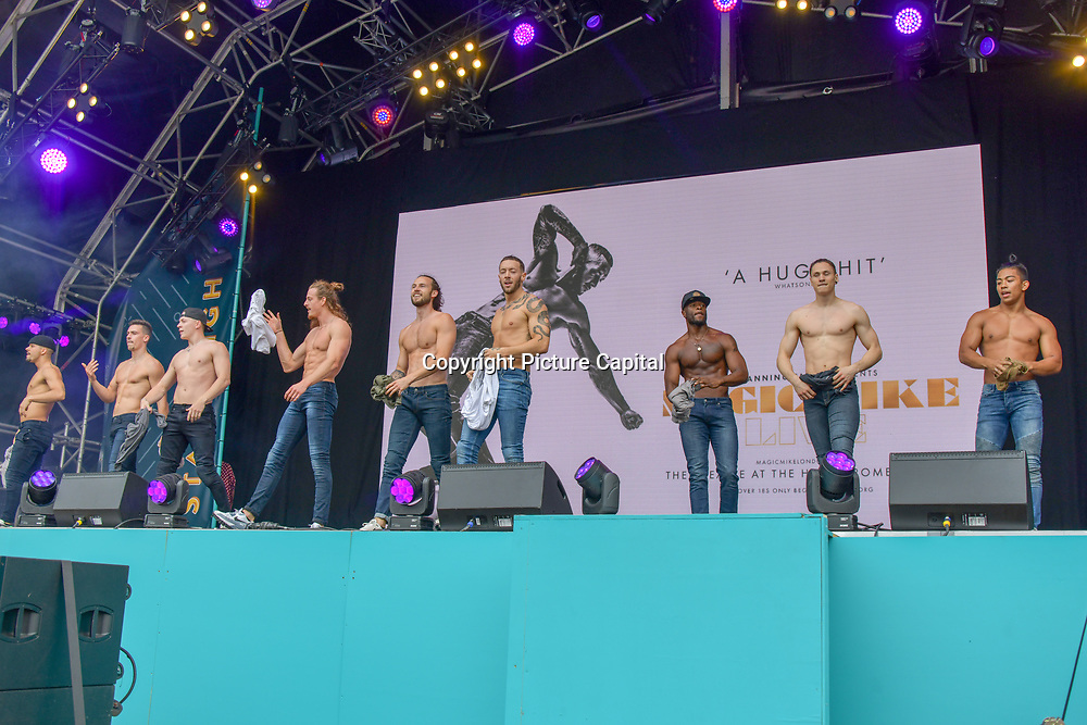 Magic Mike Live performs at West End Live 2019 - Day 2 in Trafalgar Square, on 23 June 2019, London, UK.
