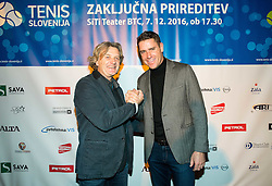 Roman Veras and Gregor Krusic at Slovenian Tennis personality of the year 2016 annual awards presented by Slovene Tennis Association Tenis Slovenija, on December 7, 2016 in Siti Teater, Ljubljana, Slovenia. Photo by Vid Ponikvar / Sportida