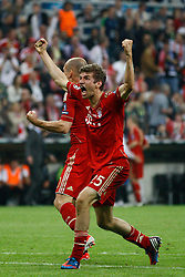 19.05.2012, Allianz Arena, Muenchen, GER, UEFA CL, Finale, FC Bayern Muenchen (GER) vs FC Chelsea (ENG), im Bild Bayern's German forward Thomas Muller celebrates scoring during the Final Match of the UEFA Championsleague between FC Bayern Munich (GER) vs Chelsea FC (ENG) at the Allianz Arena, Munich, Germany on 2012/05/19. EXPA Pictures © 2012, PhotoCredit: EXPA/ Mitchel Gunn