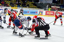 24.11.2019, Ice Rink, Znojmo, CZE, EBEL, HC Orli Znojmo vs Fehervar AV 19, 21. Runde, im Bild v.l. Andrew Michael Yogan (Hydro Fehervar AV19) Parker Bowles (HC Orli Znojmo) Felix Girard (Hydro Fehervar AV19) Philip McRae (HC Orli Znojmo) Jakub Stehlik (HC Orli Znojmo) // during the Erste Bank Eishockey League 21th round match between HC Orli Znojmo and Fehervar AV 19 at the Ice Rink in Znojmo, Czechia on 2019/11/24. EXPA Pictures © 2019, PhotoCredit: EXPA/ Rostislav Pfeffer