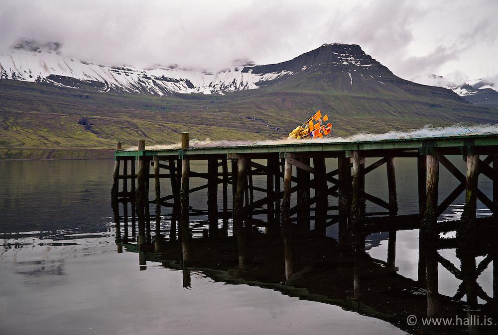 Small wharf in Faskrudsfjordur, east coast of Iceland - lítil bryggja við Fáskrúðsfjörð