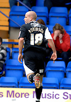 Photo: Paul Greenwood.<br />Tranmere Rovers v Swansea City. Coca Cola League 1. 10/03/2007.<br />Swansea's Andy Robinson celebrates his goal